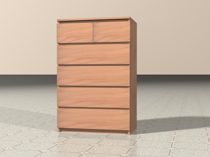 3d model of ikea malm chest drawers