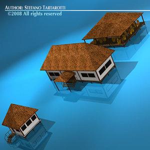 bungalow building resort 3d model