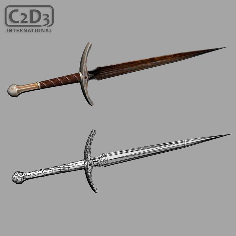 3d model of ancient sword