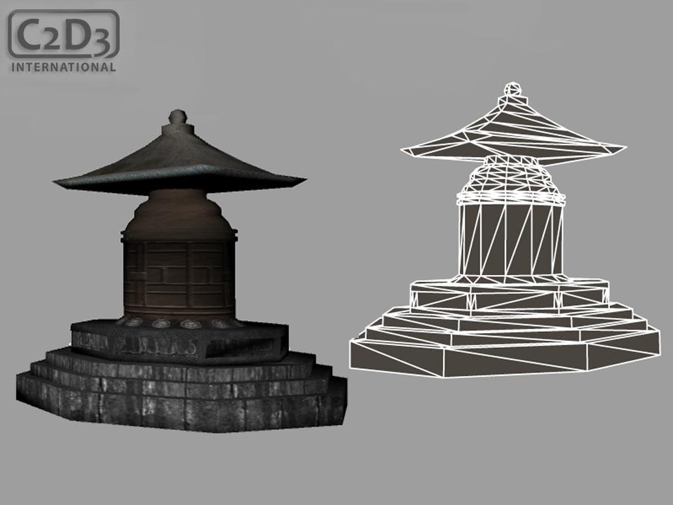 3d stone shrine model