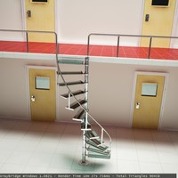 3d metal glass staircase model