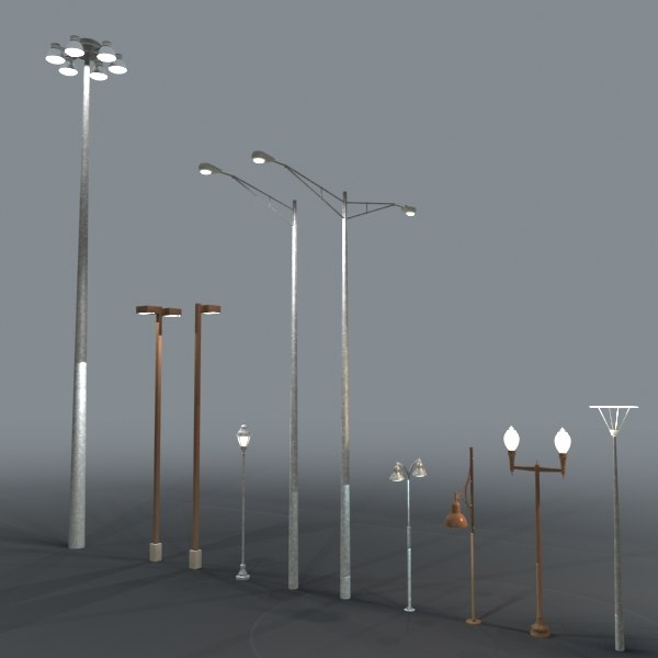 Wall Lamps 3d Model Free : 3d street lights model