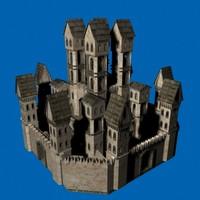 3d model of stone castle