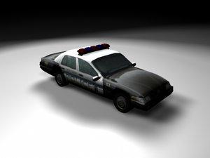 3d low-poly police car escocity model