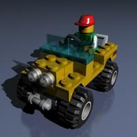 3d model of lego cart