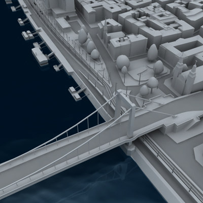 partial city budapest bridges 3d model