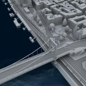 partial city budapest bridges 3d model