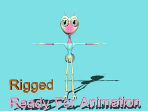 3d max cartoonic ant bug rigged character