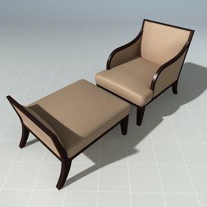 3d chair ottoman henredon lounge model