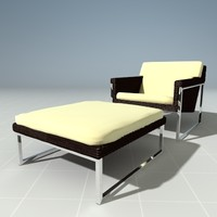 3d modern wicker lounge chair model