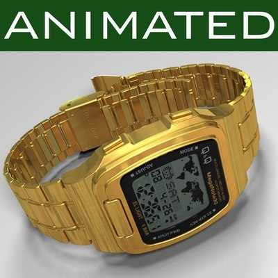 3d model of clock q mmw1-301 wristwatch