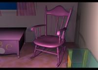 3d model rocking chair hi-res