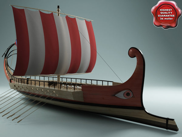 3dsmax roman galley modelled
