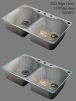 porcelain kitchen sink 3d model