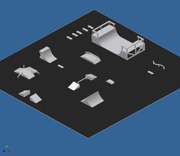 free skate park 3d model