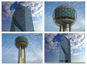 3d fountain place reunion tower model