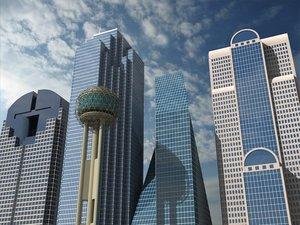 5 dallas skyscrapers 3d model