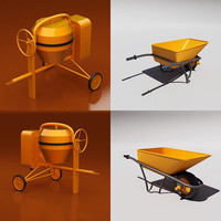 3d cement mixer wheelbarrow wheel model