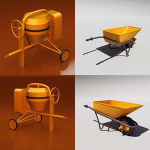 3d cement mixer wheelbarrow wheel model