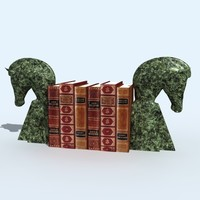 bookend horse books 3d model