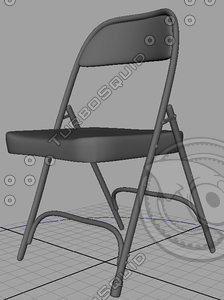 rigged folding chair 3d model