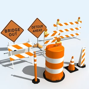 construction signs barricades 3ds