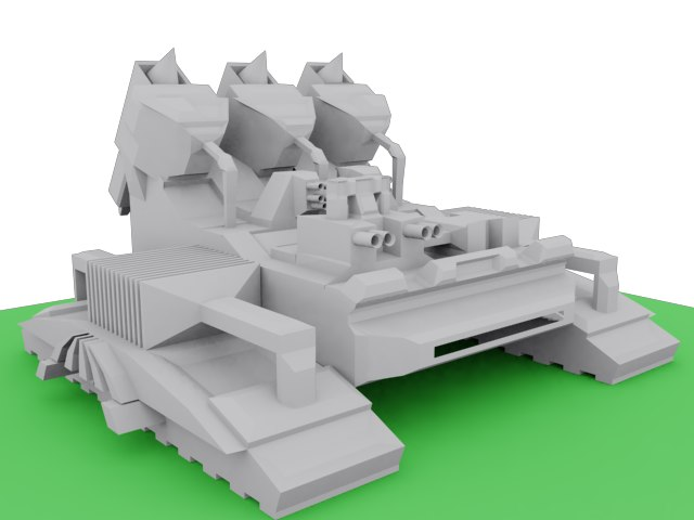 3d model of non-textured hover tank