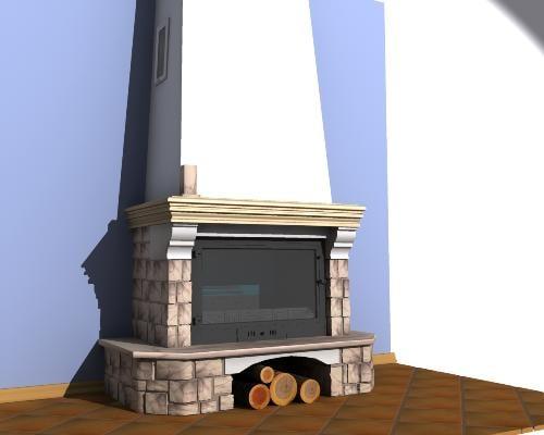 3d model hearthsotne fire-place chimney