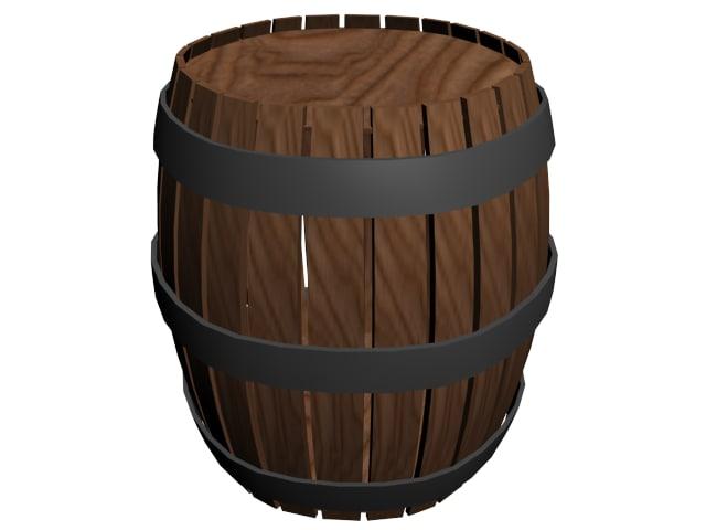 3d wooden barrel model