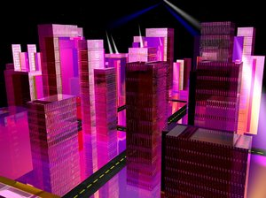 free pink futuristic city 3d model