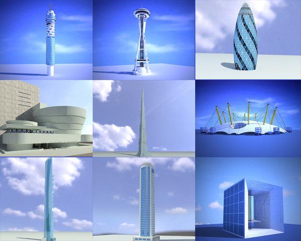 world landmarks 3ds