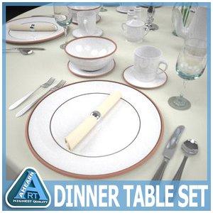 dinning table set plate 3d model
