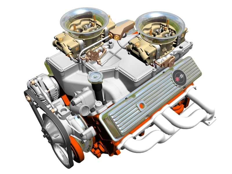 cross-ram chevrolet v8 engine 3d model