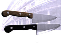 3d knife metal wood model