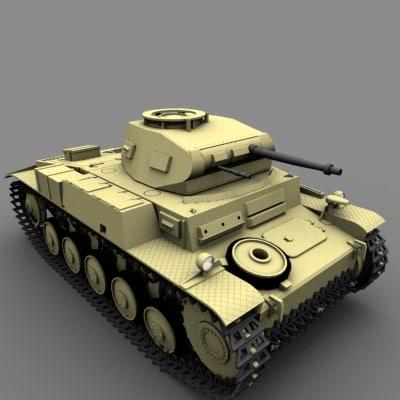 3d model panzer 2 f