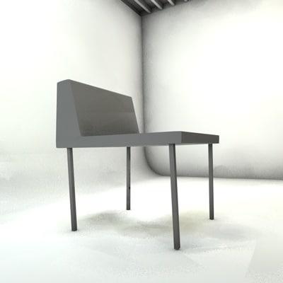 white chair restaurant c4d