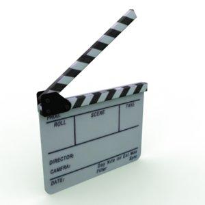 3d model of film slate clapboard