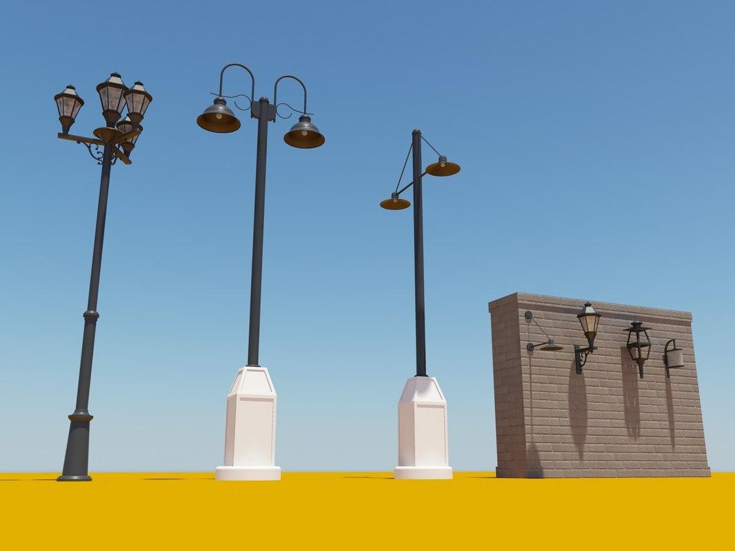 3d street lamp pack