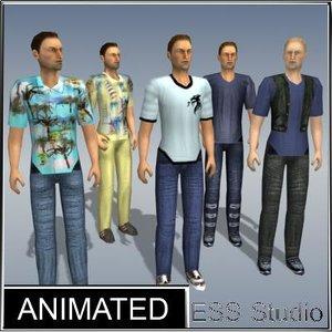 3d model urban male characters