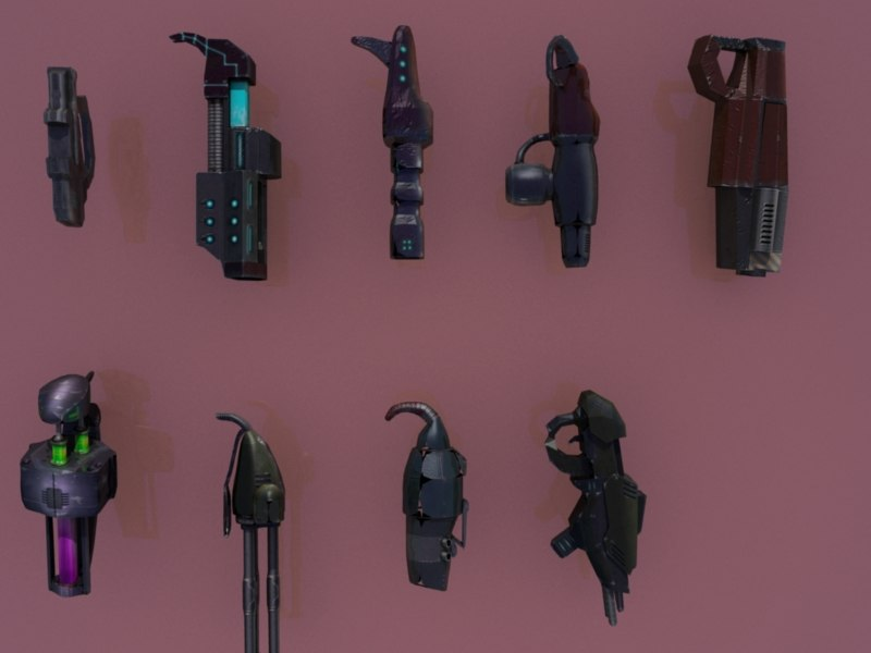 3d sci fi weapons