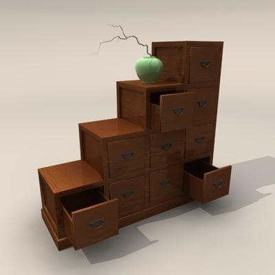 asian wood dresser 3d c4d