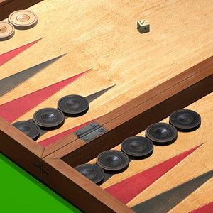 3d backgammon chips model