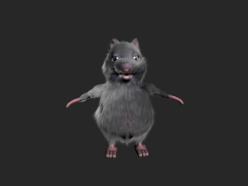 3d model rigged rat fur