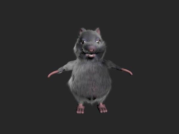 3d model rigged rat fur