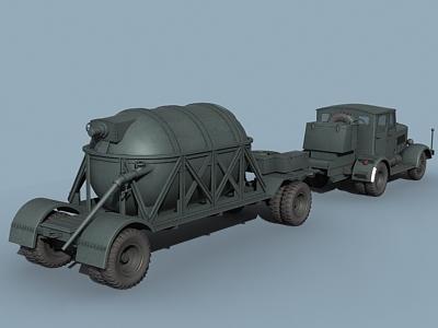 v-2 rocket support vehicle 3d max