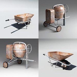 cement mixer wheelbarrow wheel 3d model