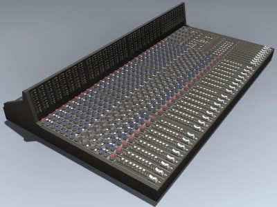 3d model of mixer recording console