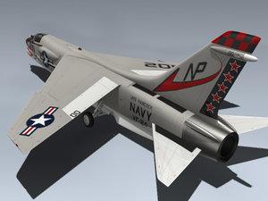 3d f-8j crusader fighter model
