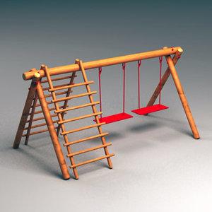 swing wooden 3d max