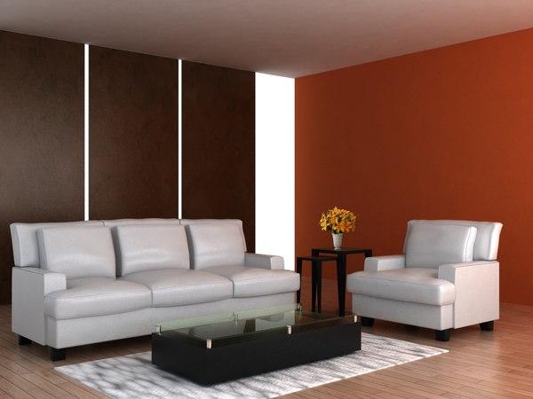 3d model of set living room furniture